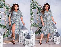 Яркое  платье с цветочным принтом   (48-58), фото 1