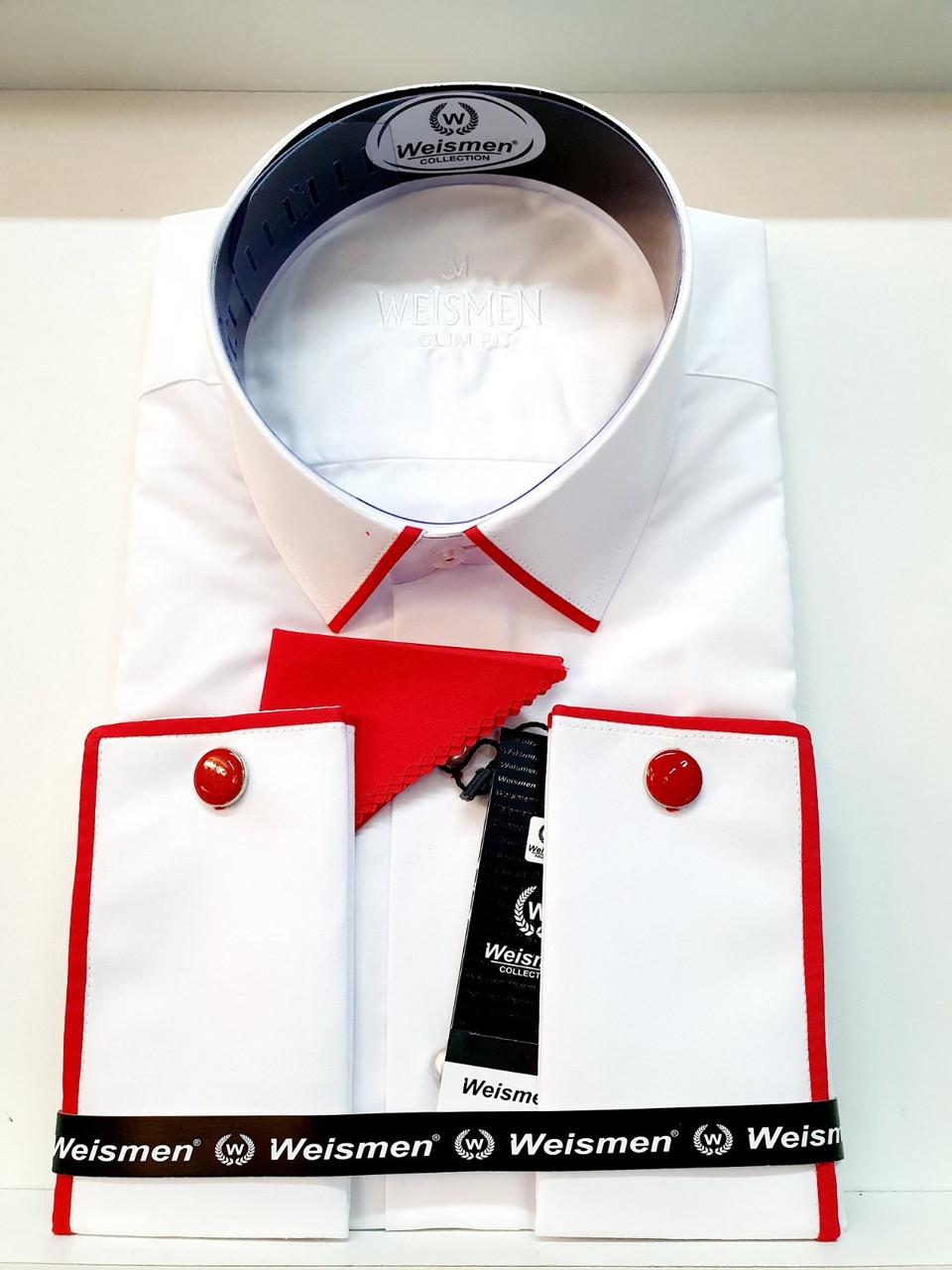 Однотонная белая  рубашка Weismen