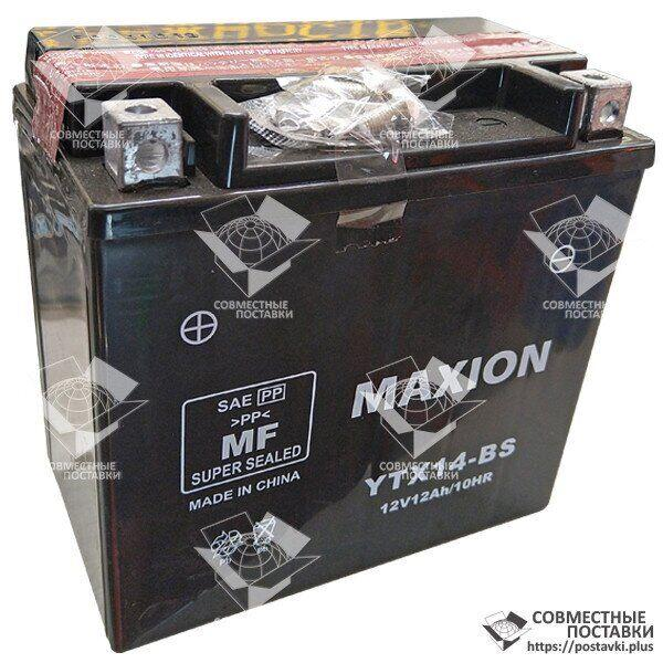 Мото аккумулятор Maxion YTX14-BS 12 Аh, 200 А, (+/-), 150х87х145 мм