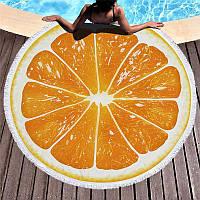 Коврик для пляжа круглый, подстилка Апельсин с бахромой