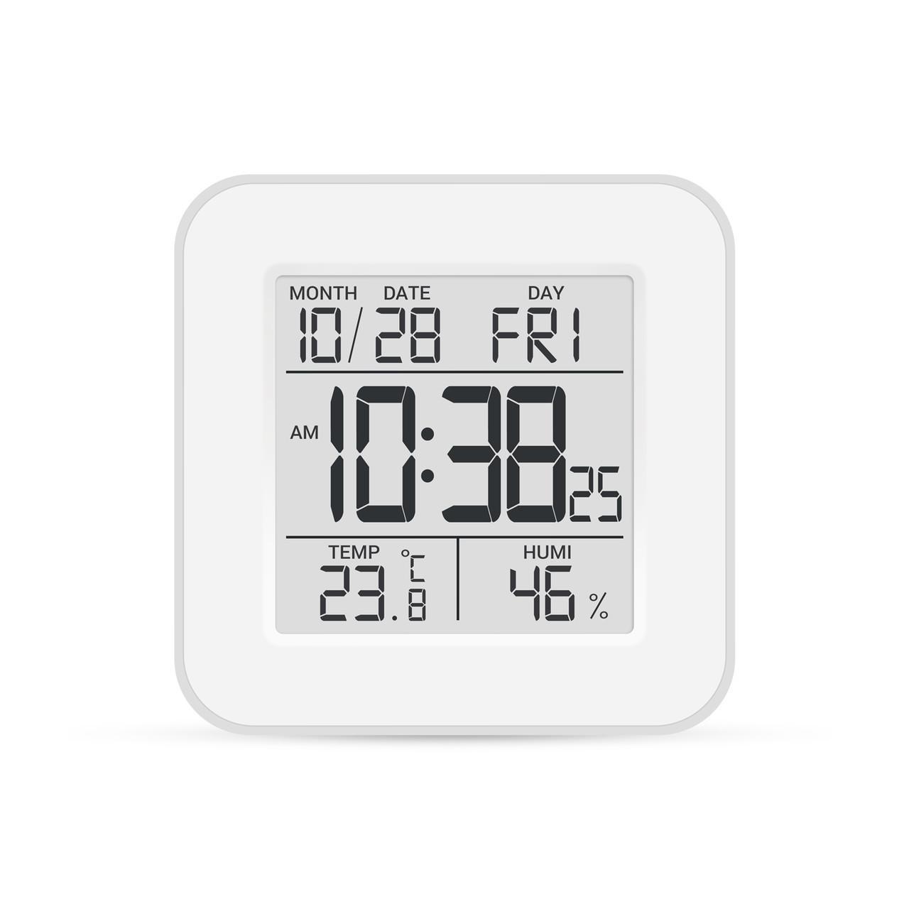 Цифровий термогігрометр Т-19 гігрометр з датчиком термометр кімнатний побутової електронний годинник