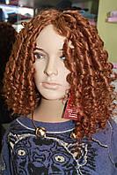 Искусственный парик длинные волосы кудри без челки рыжий