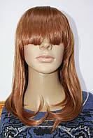 Парик из искусственного волоса средней длинны с челкой светло рыжий