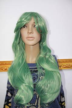 Прокат искусственный парик карновальный зеленые длинные волнистые волосы