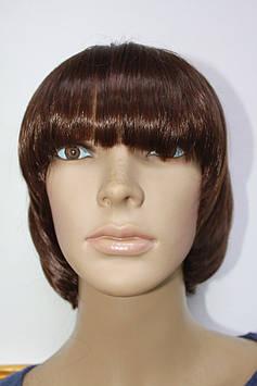 Прокат искусственный парик стрижка боб каре каштановые волосы