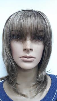 Искусственный парик термоволокно каскад с челкой светло русый с блондом