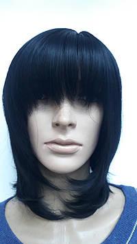 Искусственный парик стрижка каскад с челкой черный