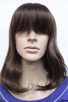 Парик искусственный средней длинны волосы с челкой темно коричневый с мелированием