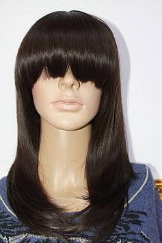 Парик из термоволокна средней длинны волосы с челкой светло коричневые
