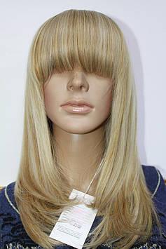 Искусственный парик термоволокно средней длинны волосы с челкой мелирование