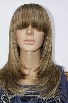 Парик искусственный длинные волосы с челкой мелирование