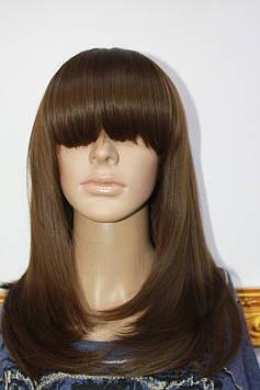 Парик искусственный средней длинны волосы с челкой коричневый