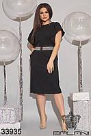 Элегантное женское платье средней длины с короткими рукавами-крылышками и поясом в комплекте с 48 по 62 размер