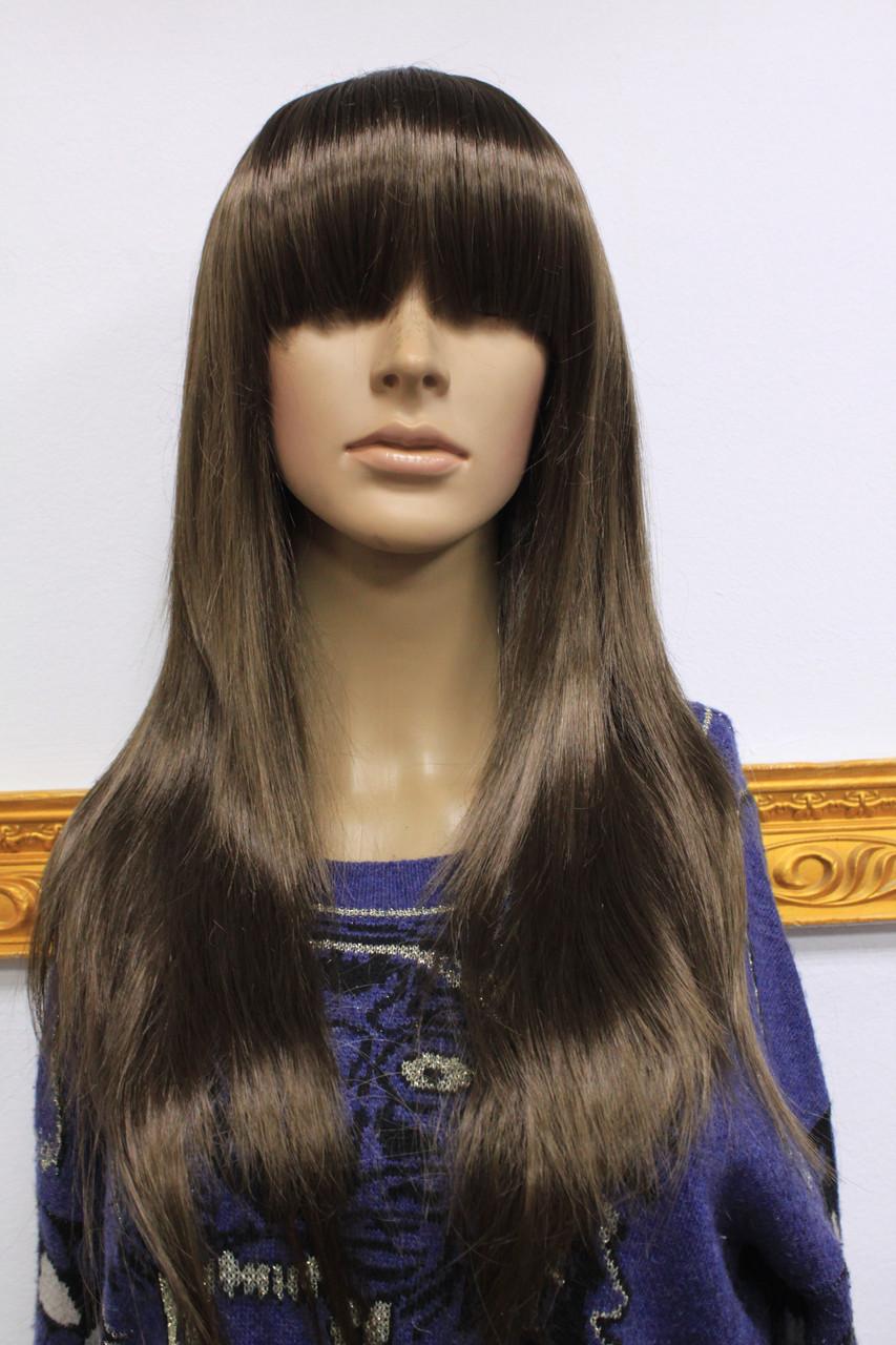 Искусственный парик длинные волосы с челкой русый