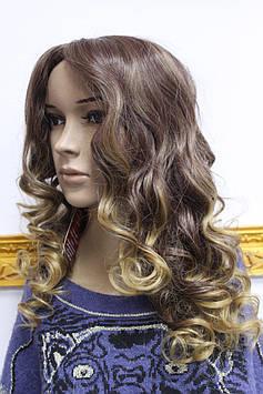 Искусственный парик длинные волосы кудри без челки золотисто коричневые