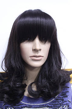 Искусственный парик длинные волосы волнистые черные с челкой