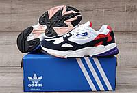 Подростковые, детские кроссовки Adidas Falcon W ( White / Red / Blue )