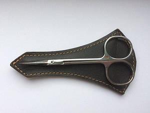 Маникюрные ножницы для кутикулы Olton 113 мм в кожаном чехле