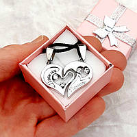 """Подарок парню девушке парные кулоны сердце для влюбленных, гравировка""""I Love you"""", цвет серебро, в коробочке"""