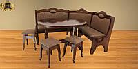 Комплект, кухонний куток, стіл та табурети, дерев'яні з масиву бука, колір горіховий,