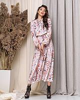 Платье длинное с принтом Цветочки в расцветках 60136, фото 1
