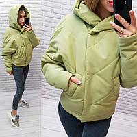 Куртка короткая оверсайз матовая с капюшоном, арт. 187,  лайм / зелёного цвета