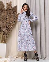 Платье длинное с принтом Цветочки в расцветках 60137, фото 1