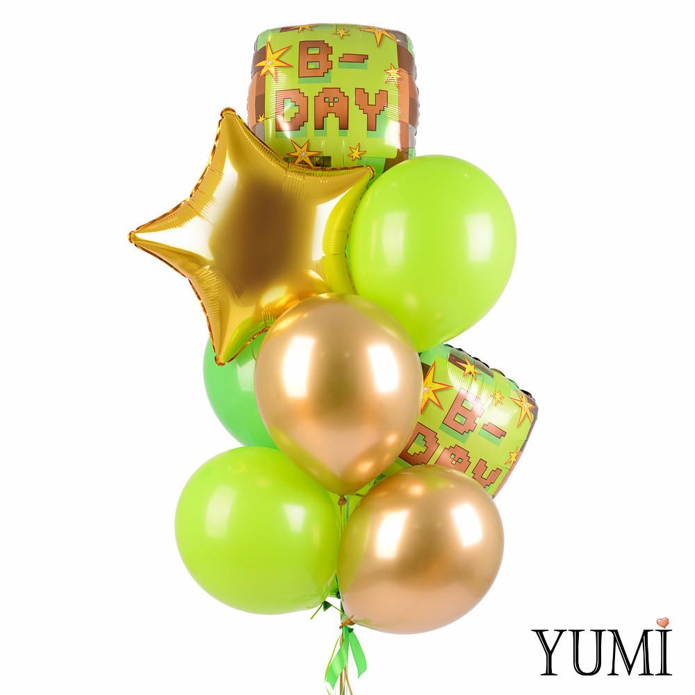 Связка шаров Майнкрафт Happy Birthday