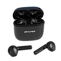 Сенсорные Bluetooth наушники Awei T26 с зарядным боксом Black, фото 1