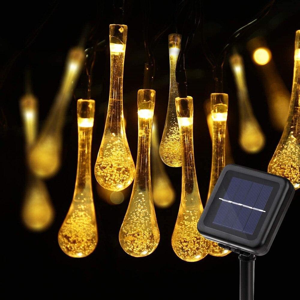 Светодиодная гирлянда на солнечной энергии Хрустальная капля желтая 50 LED