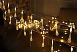 Светодиодная гирлянда на солнечной энергии Хрустальная капля желтая 50 LED, фото 3