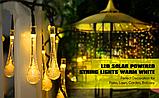 Светодиодная гирлянда на солнечной энергии Хрустальная капля желтая 50 LED, фото 2