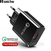 Быстрая зарядка Qualcom 3.0 Fast Charger 3.5A Micro USB, зарядное устройство + кабель Type-C