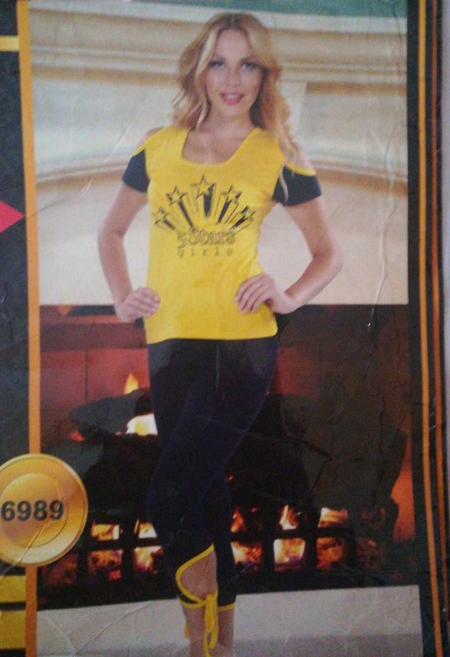 Домашний женский костюм Турция футболка и лосины