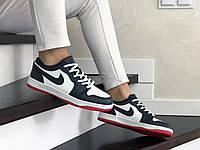 Кроссовки Весна Женские Темно Синие с Белым в стиле Nike Air Jordan 1 Low