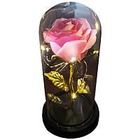 Роза в колбе с LED маленькая розовая