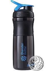 Бутылка-шейкер спортивная BlenderBottle SportMixer 820ml Black-Cyan SKL24-144859