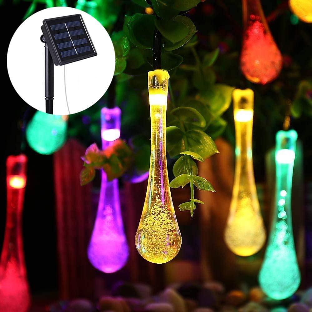 Светодиодная гирлянда на солнечной энергии Хрустальная капля RGB 50 LED