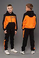 Детская теплая толстовка для мальчиков трехнитка с начесом Owen Оранжевый (158-164 см) с капюшоном