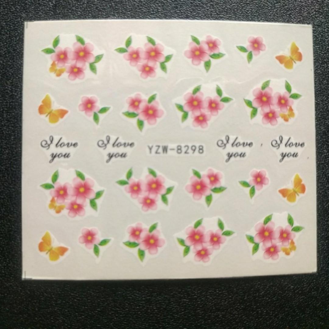 """Наклейка на ногти, наклейка для ногтей, ногтевой дизайн """" цветы"""" 20 шт набор"""