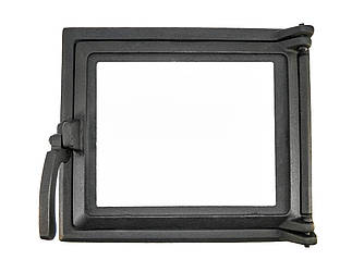Топочная дверца для печи со стеклом 230х275 мм, чугунная печная дверка 102860