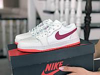 Кроссовки Весна Женские Белые с Малиновым в стиле Nike Air Jordan 1 Low