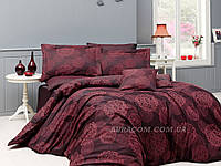 Бордовое постельное белье, евро размер, с четырьмя наволочками,  Nazenin, Lavida red, Турция.