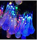 Светодиодная гирлянда на солнечной энергии Хрустальная капля  голубая 50 LED, фото 3
