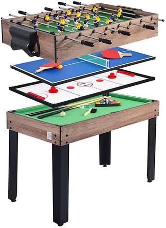 Ігровий стіл Super Fun 4 В 1 - Аерохокей, Настільний футбол, Міні більярд, фото 2