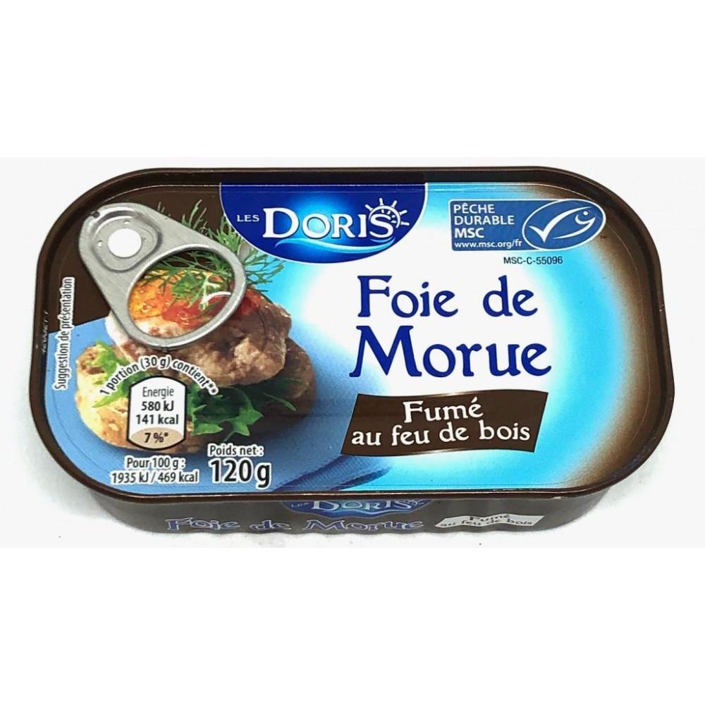Печень трески Les Doris Foie de Morue копченная на дровах, 120 грамм