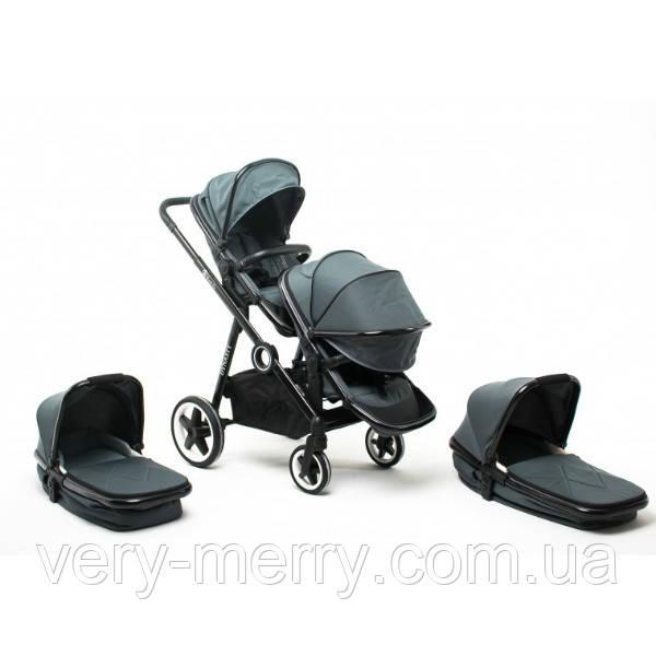 Універсальна коляска для двійні Babyzz Династія 2 в 1 (сіра) + 2 прогулянкових блоки і 2 люльки