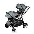 Універсальна коляска для двійні Babyzz Династія 2 в 1 (сіра) + 2 прогулянкових блоки і 2 люльки, фото 7
