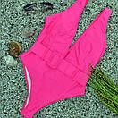 Женский слитный купальник розовый с поясом, фото 3
