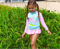 Солнцезащитный купальный комплект для девочки Фламинго, купальник